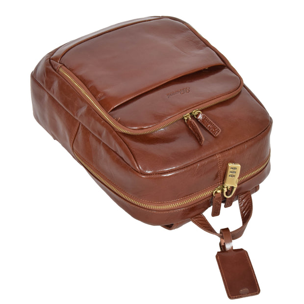 Womens Backpack Chestnut Real Leather Large Travel Rucksack Cora Letdown