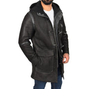 Mens Genuine Sheepskin Duffle Coat 3/4 Long Hooded Jacket Ace Black Front 3