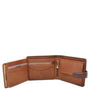 Mens High Quality Real Italian Leather Wallet Purse AVT53 Brown Open 3