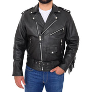 Mens Black Cowhide Biker Jacket With Leather Fringes Belt Tasselled Coat Bill Front