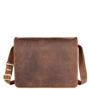 Mens Messenger TAN Vintage Leather Laptop Office Bag A48 Front