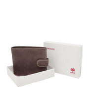 Mens Real Leather Bifold Clip Closure Wallet AV86 Brown With Box