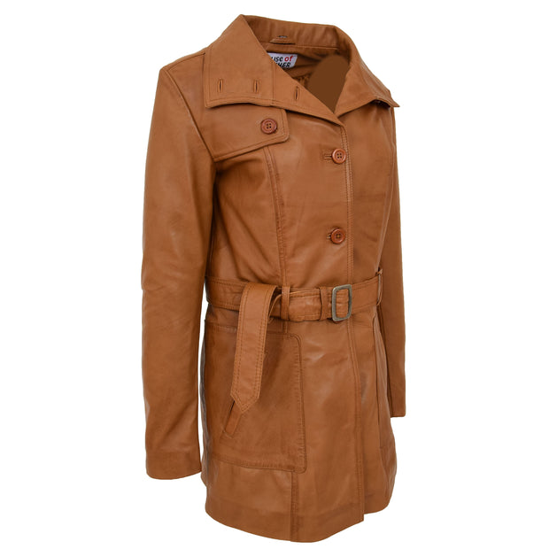 Womens Real Leather Mid Length Trench Parka Coat Alba Tan Side Angle 2