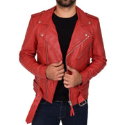 Mens Brando Biker Leather Jacket Elvis Red zip open