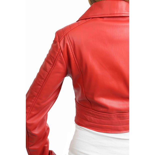 Womens Fitted Cropped Bustier Style Leather Jacket Amanda Red Feature 1