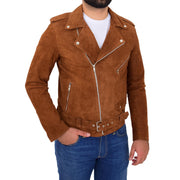 Genuine Suede Leather Biker Jacket For Mens Fitted Brando Coat Jay Cognac Front 2
