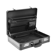 Business Executive Black Leather Look Briefcase Attache BC23 Open