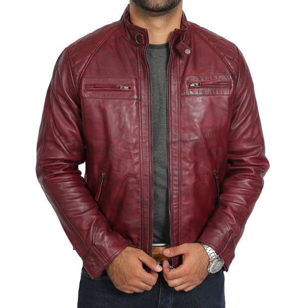 Gents Fitted Biker Leather Jacket Django Burgundy Open