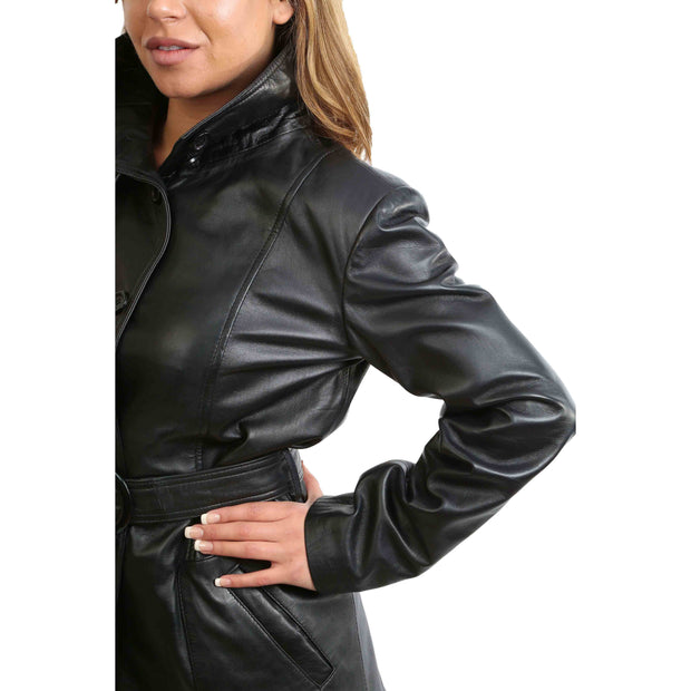 Womens Real Leather Hip Length Trench Parka Coat Alba Black Feature 1