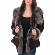 Womens Fitted Genuine Toscana Real Sheepskin Coat Pearl Brown Open