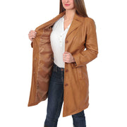 Womens 3/4 Button Fasten Leather Coat Cynthia Tan Lining
