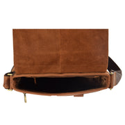 Real Leather Shoulder Messenger Vintage Organiser Flight Bag A761 Tan Top Open