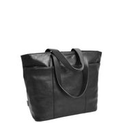 Womens Genuine Black Leather Shoulder Bag Large Tote Day Handbag KAY Front 2