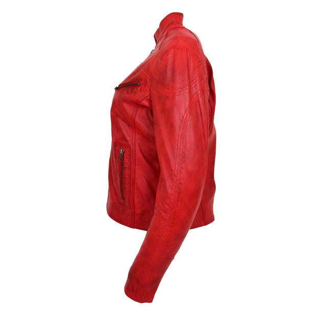 Womens Fitted Leather Biker Jacket Casual Zip Up Coat Jenny Red Side