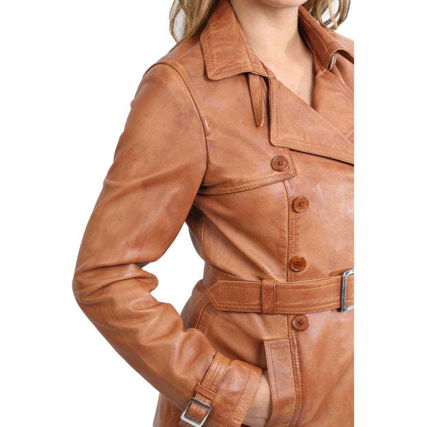 Womens Soft Leather Trench Coat Olivia Tan Feature 2
