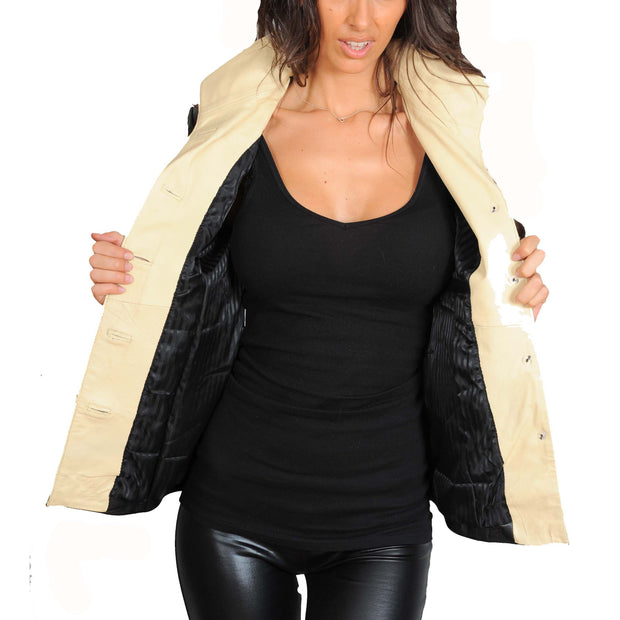 Womens Soft Leather Blazer Hip Length Beige Trim Jacket Maggie Black Open 2