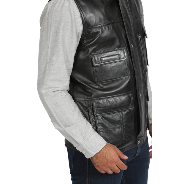Countrymen Black Leather Waistcoat Multi Pockets Gilet Boyles Feature