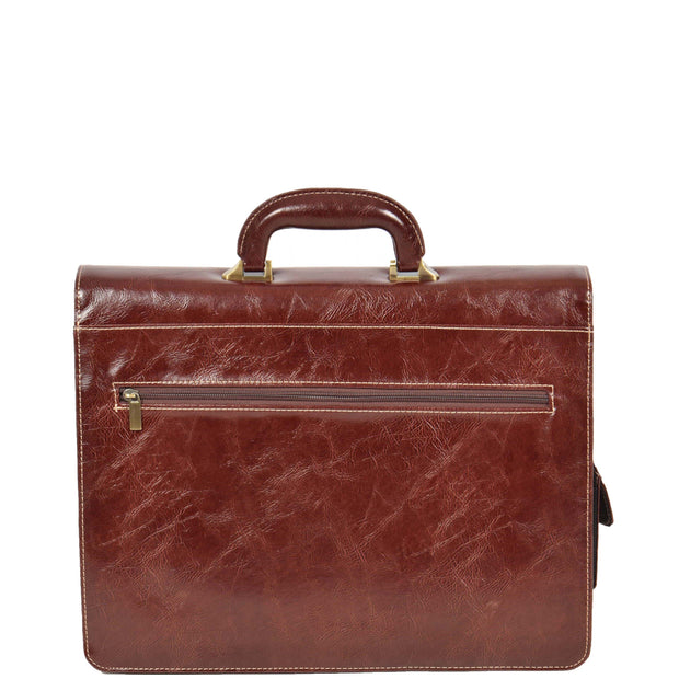 Mens Leather Look Briefcase Office Business Executive Bag A5071 Brown Back