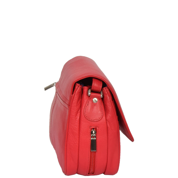 Womens Red Leather Shoulder Messenger Handbag Ada Side