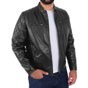 Mens Soft Leather Biker Jacket High Quality Quilted Design Tucker Black Open 2
