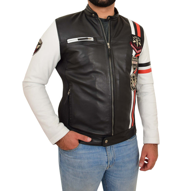 Mens Biker Leather Jacket Black White Sleeves Badges Stripes Sports Style Gears Front Side