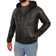 Mens Real Black Leather Bomber Hoodie Jacket Sports Fitted Coat Kent Front Side 1
