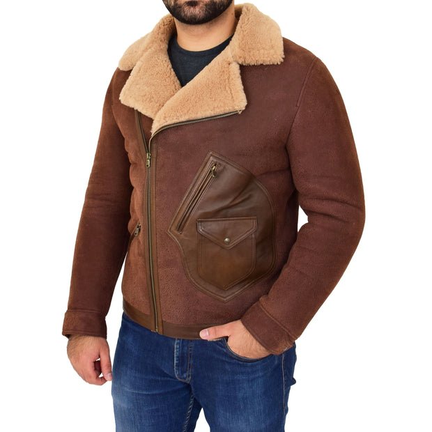 Mens Real Sheepskin Jacket Antique Flying Shearling B3 Coat Rocky Brown Front 3
