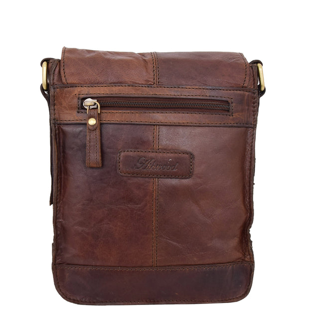 Genuine Brown Leather Bag Cross Body Vintage Flight Bag Tommy Back