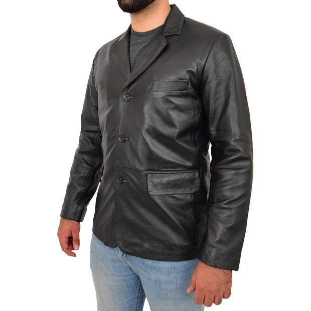 Real Leather Classic Blazer For Mens Smart Casual Black Jacket Kevin