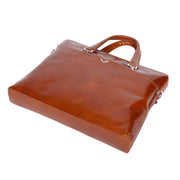 Italian Leather Tan Briefcase Messenger Business Bag Denver Back Letdown