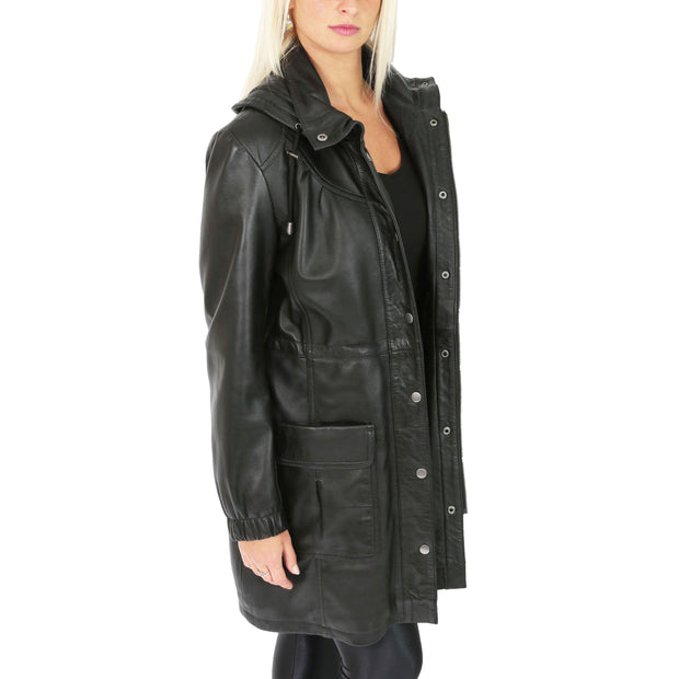 Ladies Duffle Leather Coat 3/4 Long Detachable Hood Classic Parka Jacket Liza Black Open 2