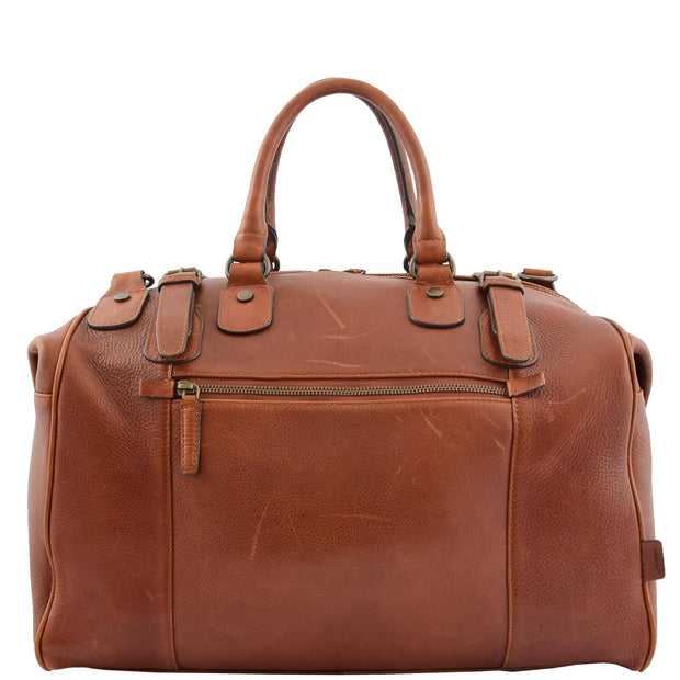 Genuine Vintage Chestnut Leather Holdall Travel Duffle Weekend Bag Rove Back