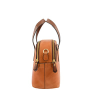Womens Cognac Leather Tote Handbag Zip Top Smart Designer Bag Lisa Side