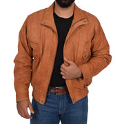 Mens Classic Bomber Nubuck Leather Jacket Alan Tan zip open view