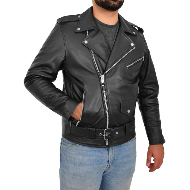 Genuine Cowhide Biker Leather Jacket For Men Casual Brando Coat Rock Black Side