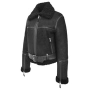 Womens Luxurious Genuine Sheepskin Flying Jacket Real Black Shearling Harriet Front 1