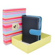 Womens Leather Booklet Evening Clutch Purse Multi Colour Wallet AVB51 Blue With Box