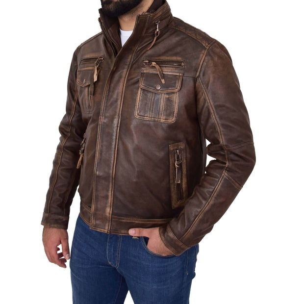 Rust Rub Off Biker Leather Jacket For Men Vintage Rugged Style Coat Mario Front 1