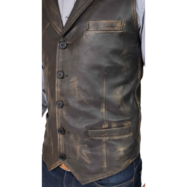 Mens Genuine Soft Leather Waistcoat Western Vest Yelek Rhys Rub Off Feature