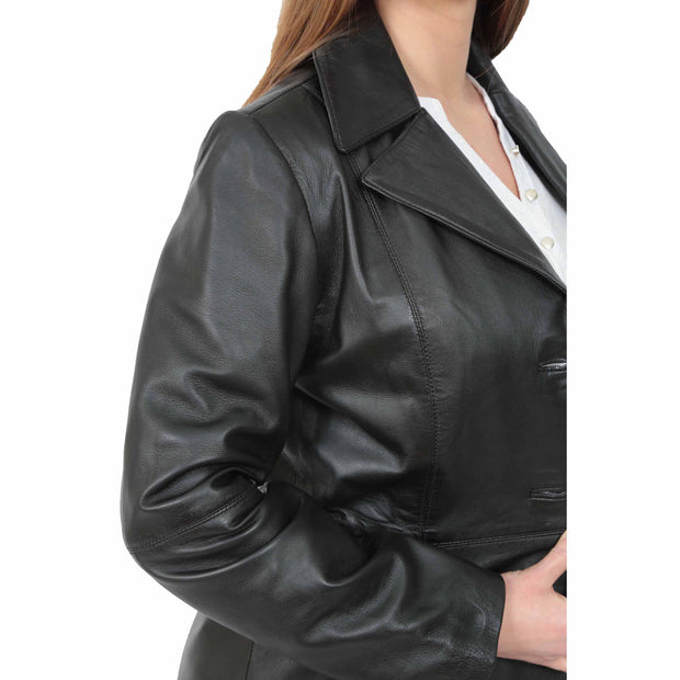 Womens 3/4 Button Fasten Leather Coat Cynthia Black feature