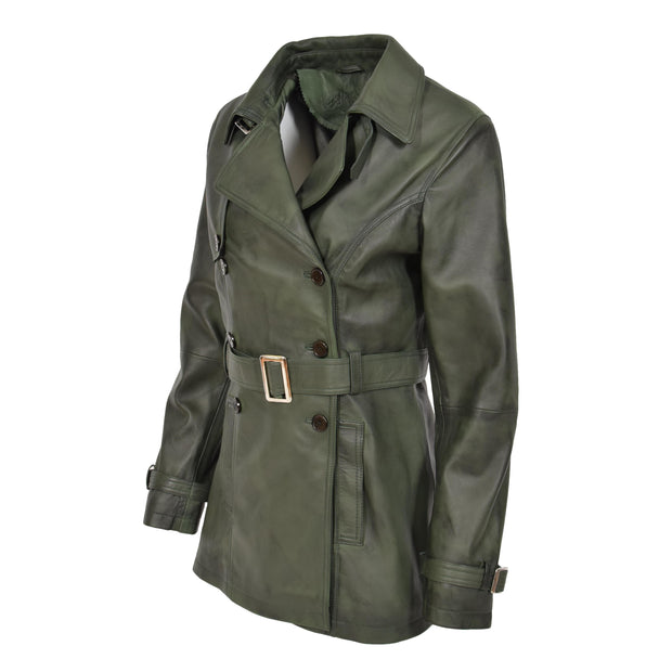 Womens Soft Leather Trench Coat Olivia Green Front 4