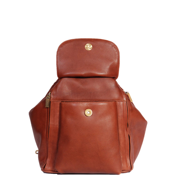 Womens Genuine Brown Leather Backpack Walking Bag A57 Open