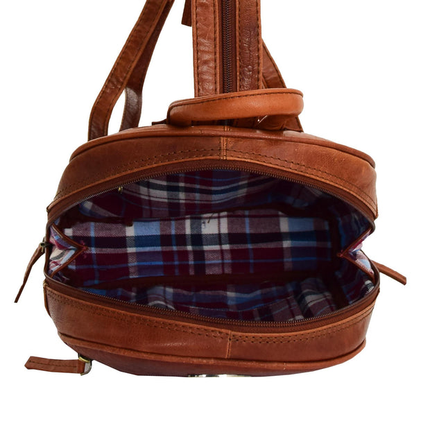 Womens Backpack Cognac LEATHER Rucksack Organiser Bag Harper Open