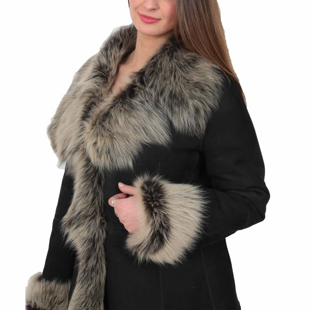 Womens Fitted Genuine Toscana Real Sheepskin Coat Pearl Black Side