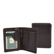 Mens Soft Durable Leather Wallet Cards Coins Notes ID Holder AV111 Brown