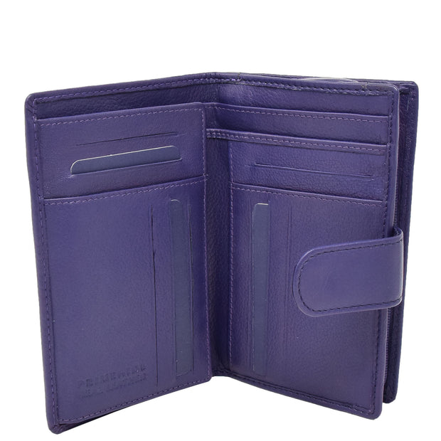 Womens Soft Real Leather Purse Trifold Booklet Clutch AL22 Purple Open 2