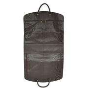 Genuine Soft Leather Suit Carrier Dress Garment Bag A173 Brown Front Open