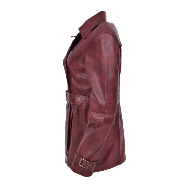Womens Soft Leather Trench Coat Olivia Burgundy Side