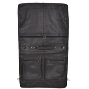 Genuine Luxury Leather Suit Garment Dress Carriers A112 Black Front Open