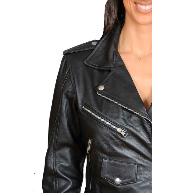 Ladies Belted Gorgeous Fitted Biker Real Leather Jacket Megan Black Feature 1